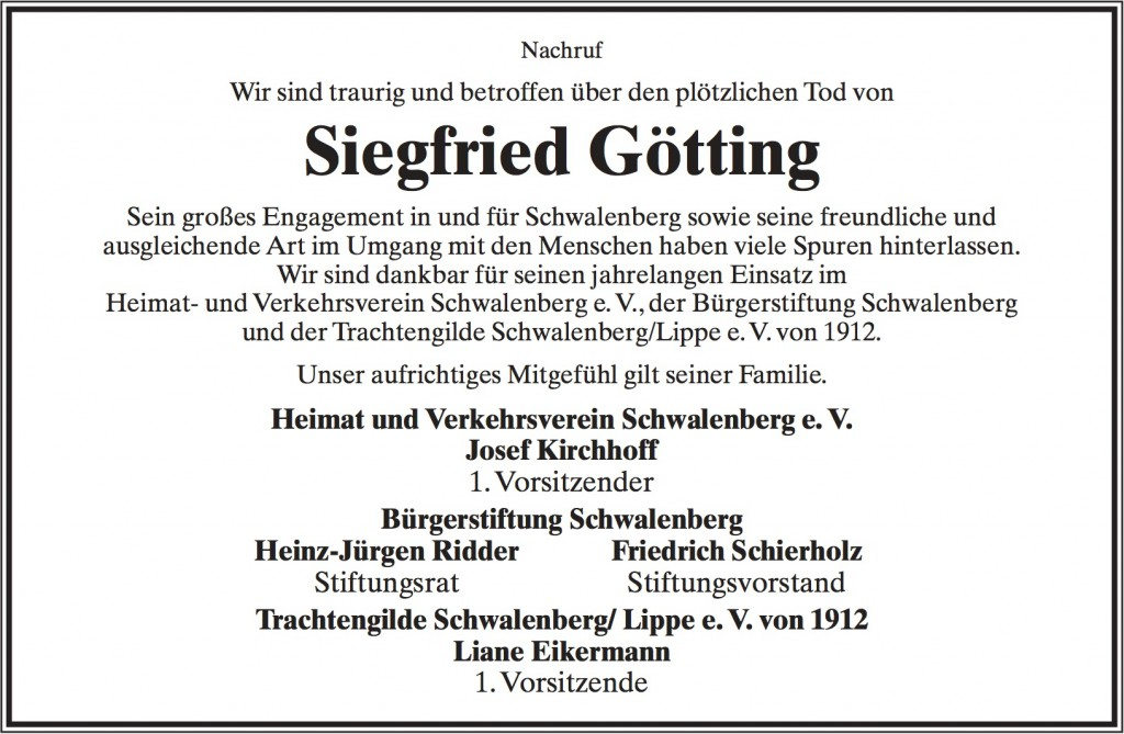 Nachruf Siegfried Goetting